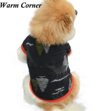 Warm Corner 1PC T-Shirt Printed Christmas Pet Puppy Deer Tree Warm Pullover High-grade Embroidered Clothes Free Shipping Oct 17