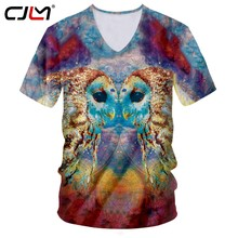 CJLM 2019 New Mens Shirts Casual Colored Owl v-neck Tshirt Dropshipping Summer China 3D T-Shirt Suppliers Wholesale(Hong Kong,China)