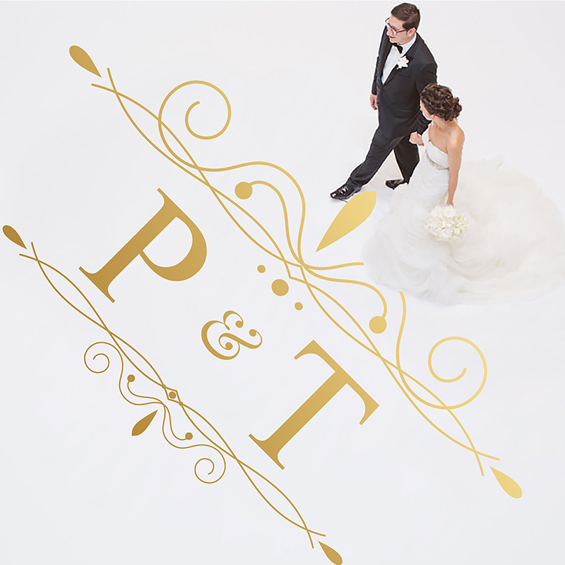 Wedding Party Dancing Floor Decoration Vinyl Art Wall Decor Personalized Name Modern Sticker For Wedding DIY Design LY1660 in Wall Stickers from Home Garden