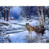 Animal Wolf Snow Canvas Oil Painting By Numbers DIY Hand Painted Painting On The Wall Home