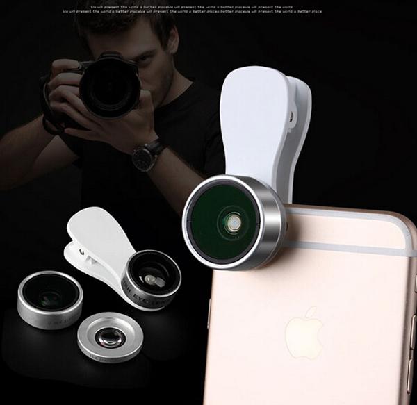 Teléfono móvil clip de foto lente ojo de pez + macro + lente gran angular para motorola moto g5, moto g5 plus, alcatel pop4 plus, pop 4S