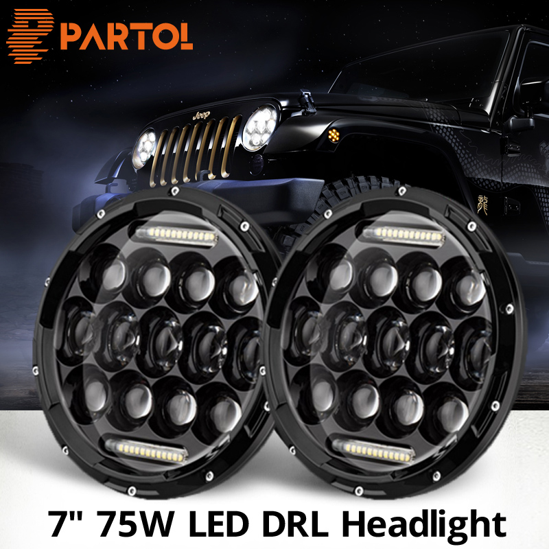 Partol 7 75W LED DRL Headlights Car LED Driving Lights High Low beam H4 H13 12v