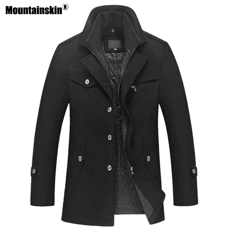 Mountainskin 冬男性厚いコートスリムフィットジャケットメンズカジュアル暖かい上着男性のウールのジャケット男性ブランド服 4XL SA606  グループ上の メンズ服 からの ウール混紡 の中 3