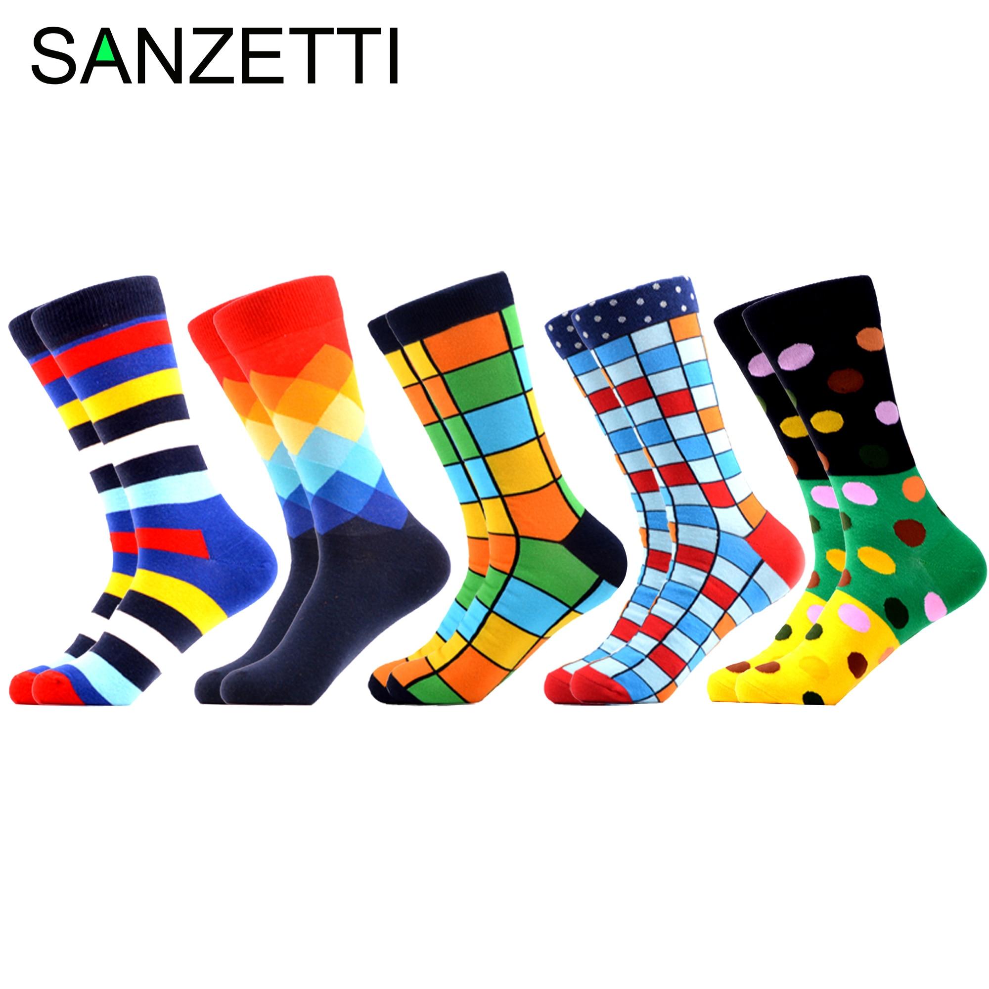 SANZETTI Colorful Men Funny Combed Cotton Tube   Socks   Dress Tend Hip Hop Novelty Street Skate Crew   Socks   Wedding Happy Gift   Socks