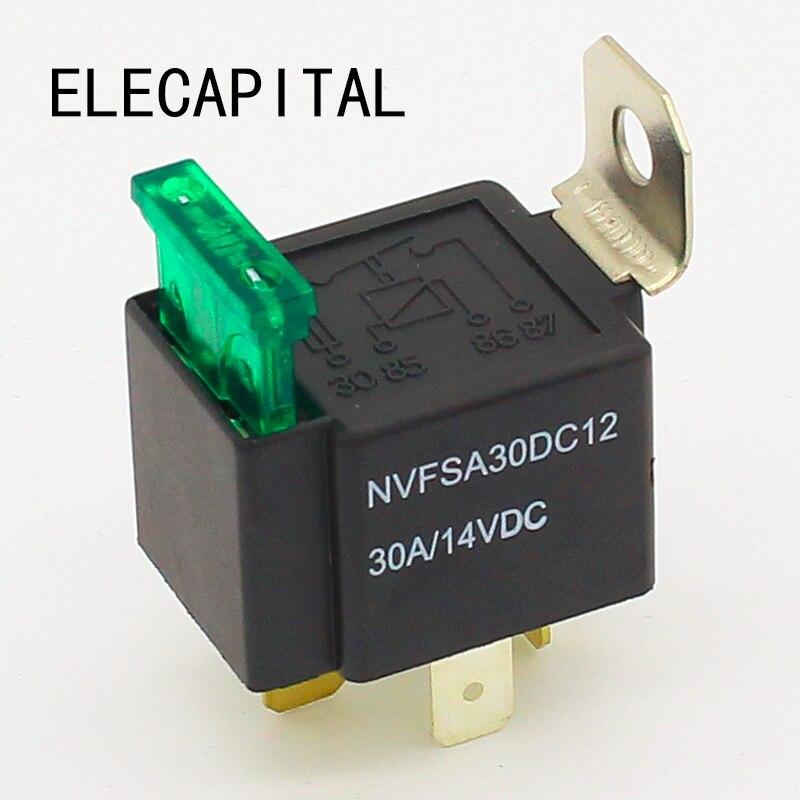 Переднее реле высшего качества 4 pin 30A автоматическое реле с предохранителем, напряжение катушки 12VDC реле
