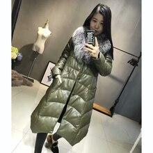 Slim Down Coat Fox Fur Collar Genuine Sheep Leather Shell Coats Long Warm Jackets Duck Down Clothing Fur Overcoat Girl Down Coat