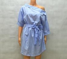Summer Women's One Shoulder Blue Striped Women Shirt Dress