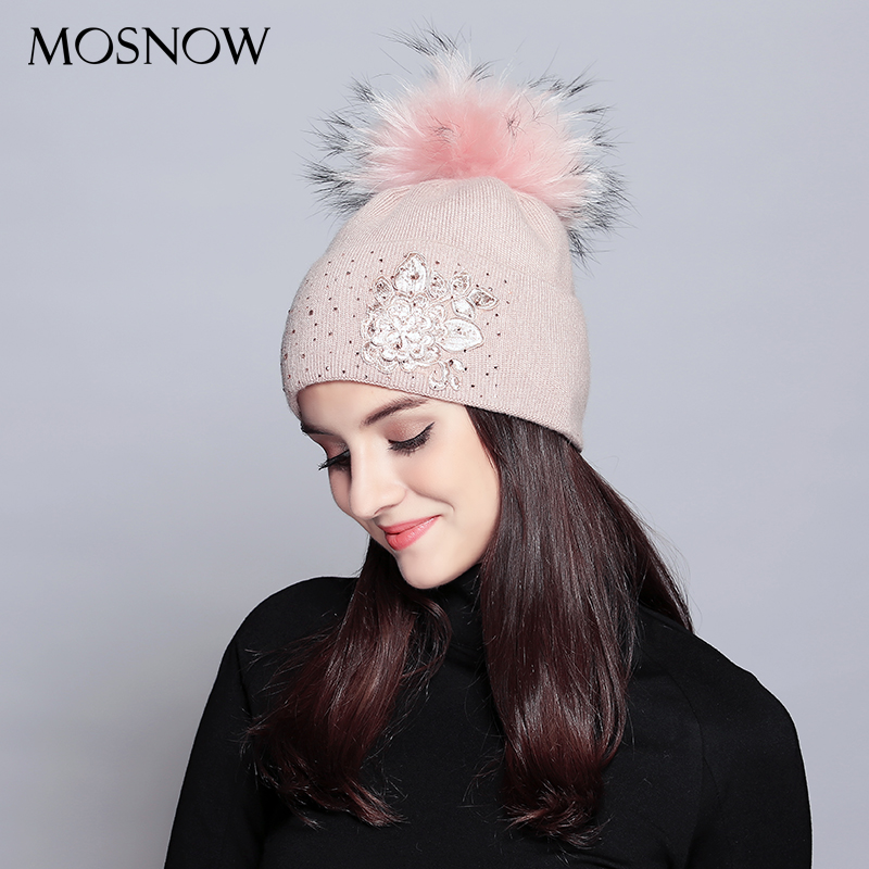 MOSNOW Wool Winter Hats For Women Elegant Flower Rhinestones Raccoon Fur Pom Poms Knitted Hat Female Skullies Beanies #MZ713B real mink pom poms wool rabbit fur knitted hat skullies winter cap for women girls hats feminino beanies brand hats bones