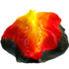 Customized 100% Silk Belly Dance Veil 200/250/270cm Handmade Dyed Scarf Shawl Red Orange Yellow Black Gradient Dance Accessories