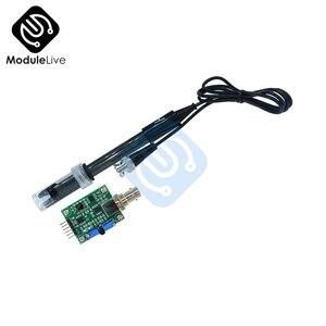 1 pces ph líquido 0-14 módulo sensor regulador de detecção de valor monitoramento medidor de controle tester + bnc ph eletrodo sonda para arduino