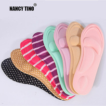 NANCY TINO Women 4D Massage Arch Memory Insole Thickening Perspiration Wear Resistant Anti-slip Shock Absorption Sponge Shoe Pad
