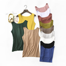 womens top Tank Tops O-neck t shirt all match women bts Solid color