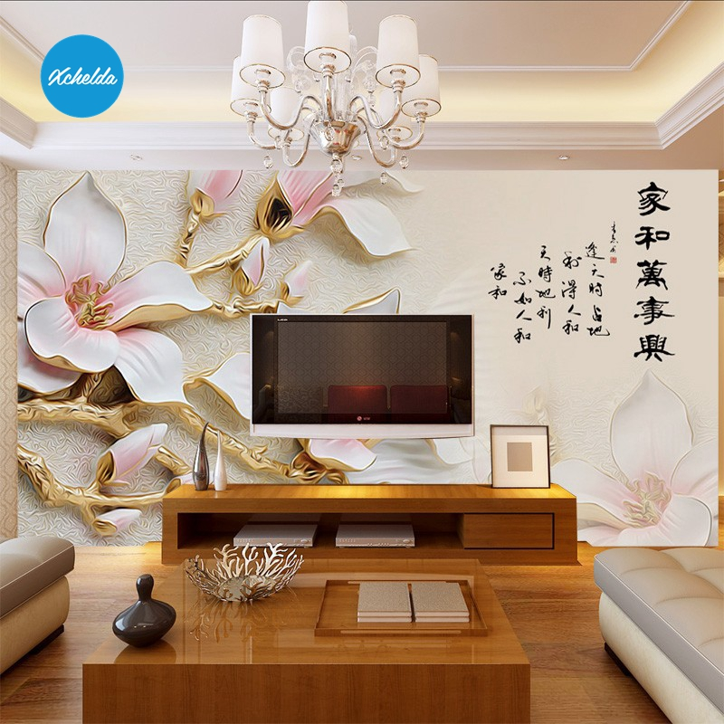XCHELDA 3D Mural Wallpapers Custom Painting Ceramic Flower Design Background Bedroom Living Room Wall Murals Papel De Parede custom 3d wall murals wallpaper luxury silk diamond home decoration wall art mural painting living room bedroom papel de parede
