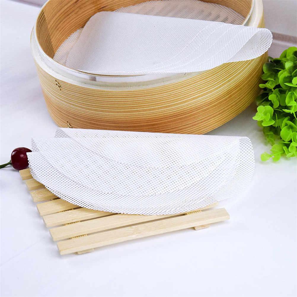 1PcซิลิโคนสีขาวSteamer Non-Stickแผ่นรอบDumplings Matนึ่งอบขนมPastry Dim Sumตาข่ายทำอาหารกรณี