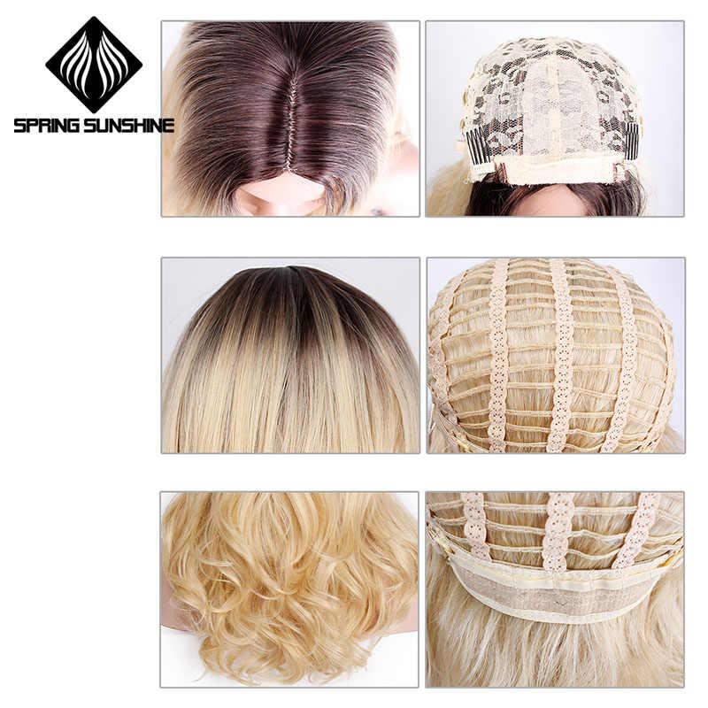 """Весеннее солнце 22 """"свободная волна парики для Для женщин жаропрочных черный Ombre серый блондинка Розовый и красный цвет парики синтетические парик для студенческой вечеринки"""