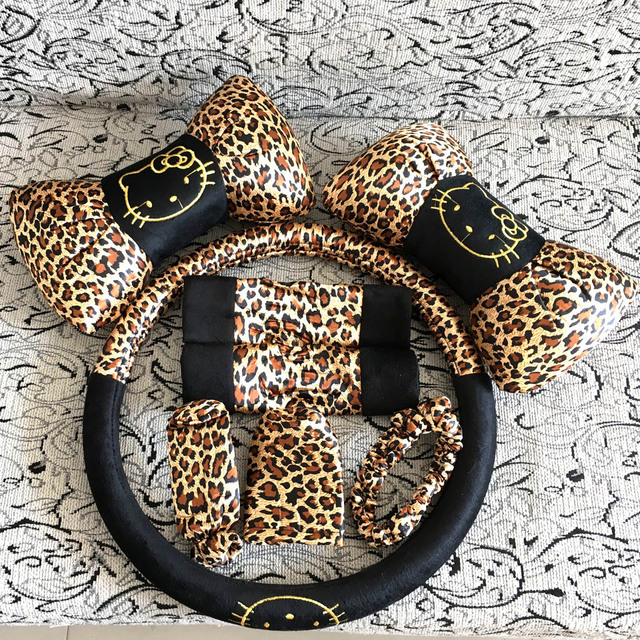 8pcs Leopard Cartoon Universal Hello Kitty car covers car interior Accessories steering wheel cover Safety belt sets