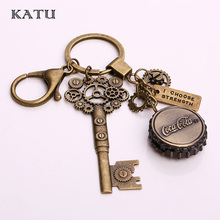 Katu Fashion Bottle Caps  Pocket Watch Keychain Fashion Vintage Steampunk Key Key Holder Car Ring Key Chain for Men Gift