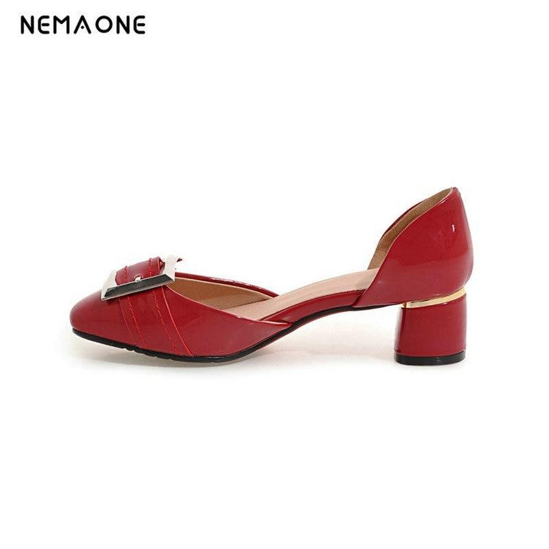 NEMAONE 2017 New summer women shoes square heels women pumps square toe dress shoes woman zapatos mujer large size 34-43 женское платье summer dress 2015cute o women dress