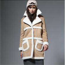 UUV Brand Long Sheepskin Suede Cloak Winter Jacket Women Lapel Thick Warm Women's Coats Overcoat Jaqueta 3 Colors JS1303012
