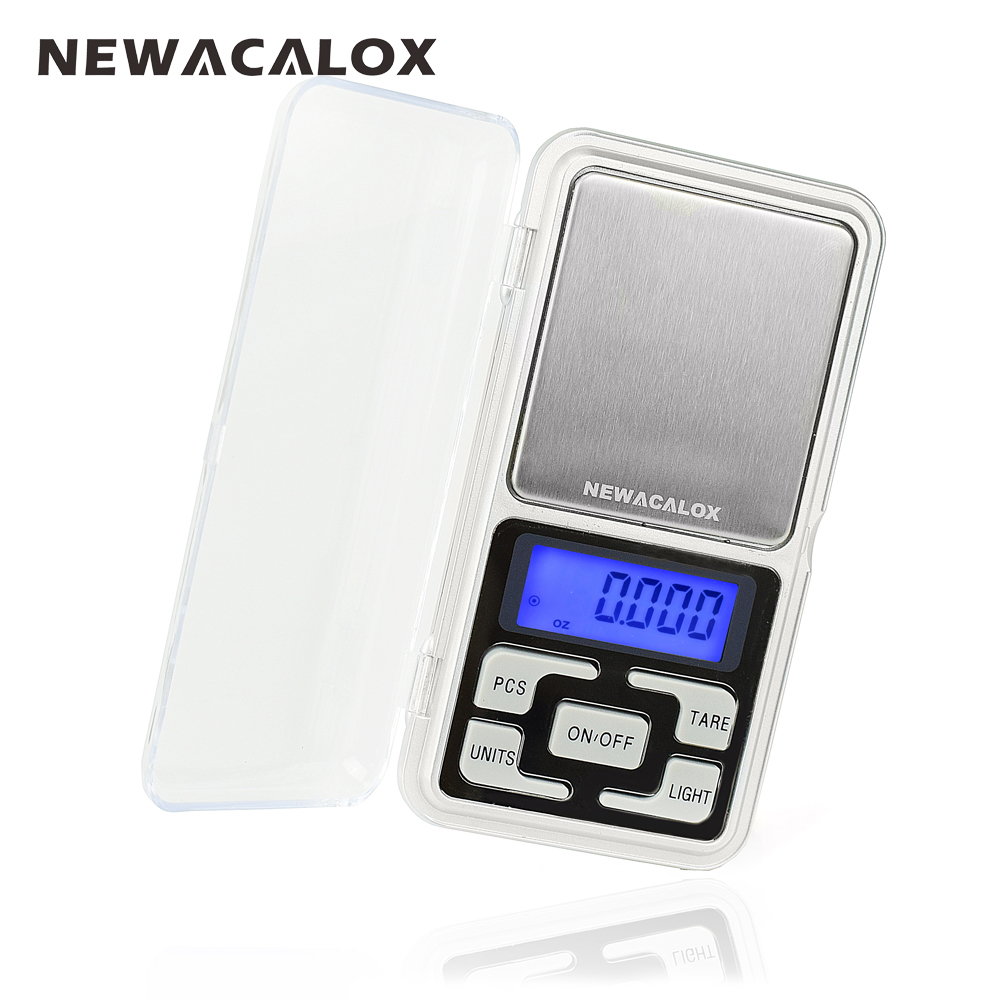 NEWACALOX 200g x 0.01g Mini Precision Digital Scales for Gold Bijoux Sterling Silver Scale Jewelry 0.01 Weight Electronic Scales 500g x 0 01g digital precision scale gold silver jewelry weight balance scales lcd display units pocket electronic scales