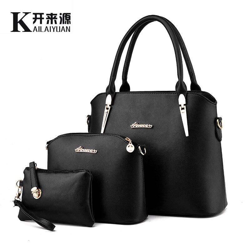 100% en cuir véritable femmes sac à main 2019 nouveau trois pièces type mode bandoulière épaule sac à main femmes messenger sacs