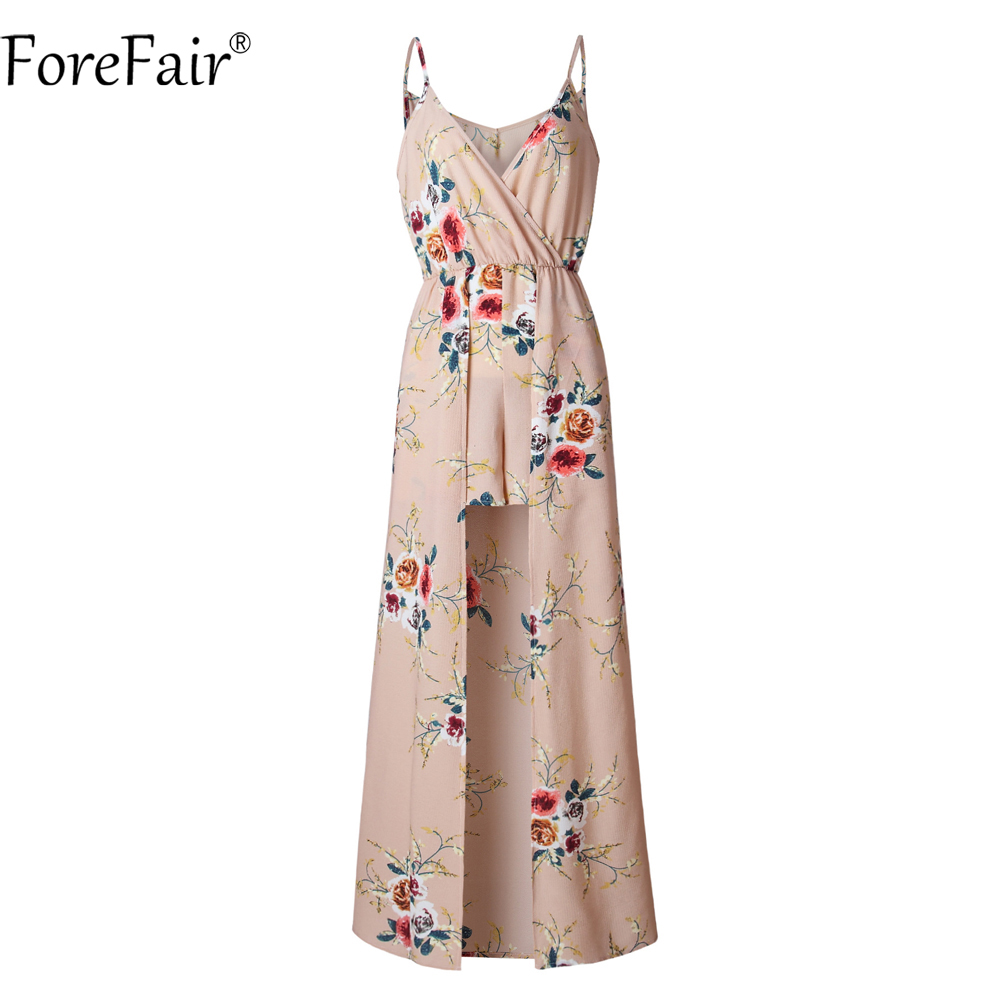 ForeFair Sexy V-neck Women Maxi Rompers Plus Size Female Blue Khaki Split Jumpsuits Summer Boho Long Playsuits 4