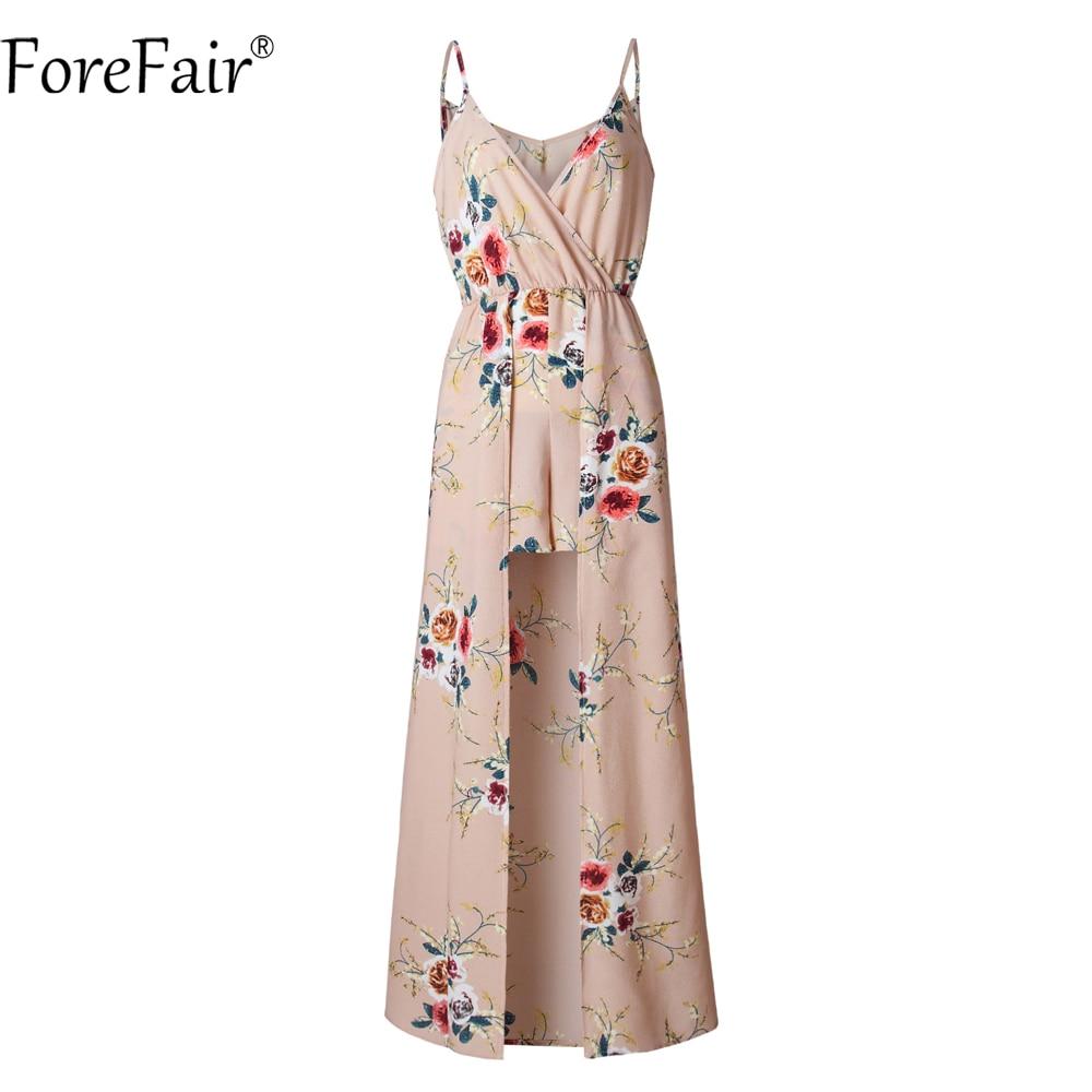 ForeFair Sexy V-neck Women Maxi Rompers Plus Size Female Blue Khaki Split Jumpsuits Summer Boho Long Playsuits 4