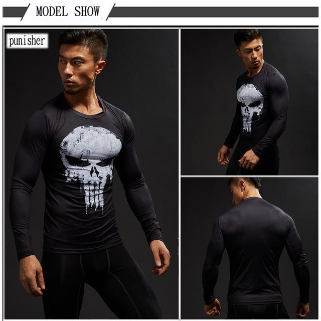 Long Sleeve 3D T Shirt Men T-Shirt Male Tee Captain America Superman tshirt Men Fitness Compression Shirt Punisher MMA