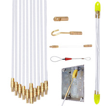 цена на Wire Fiberglass Cable Running Rod Coaxial Connectable Fish Tape Pulling Hook Hole Kit TB Sale
