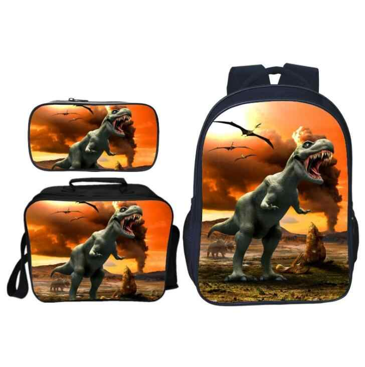 3 шт./компл. популярные модные детские школьные сумки с принтом животных Юрского Периода Рюкзак для мальчиков с динозавром школьный рюкзак для девочек
