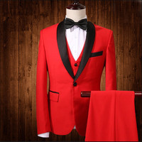 Jacket Pants Vest Brand Fashion Men S Suits Blazers Purple Red Groom Wedding Slim Fit Male