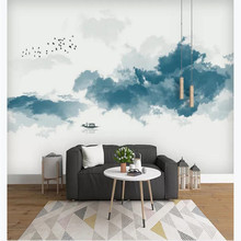 Custom wallpaper new China abstract ink landscape background wall bedroom decoration mural waterproof material