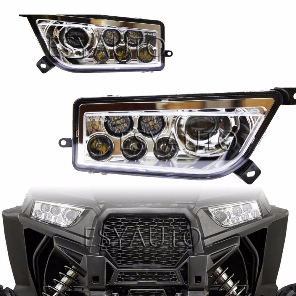 Продвижение! 1 комплект хром авто Аксессуары для ATV/utv вел головной свет комплект фар для Polaris бритва пуш 1000