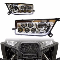 Promotion 1 Set Chrome Auto Accessories ATV UTV LED Head Light Kit Headlamp For Polaris Razor