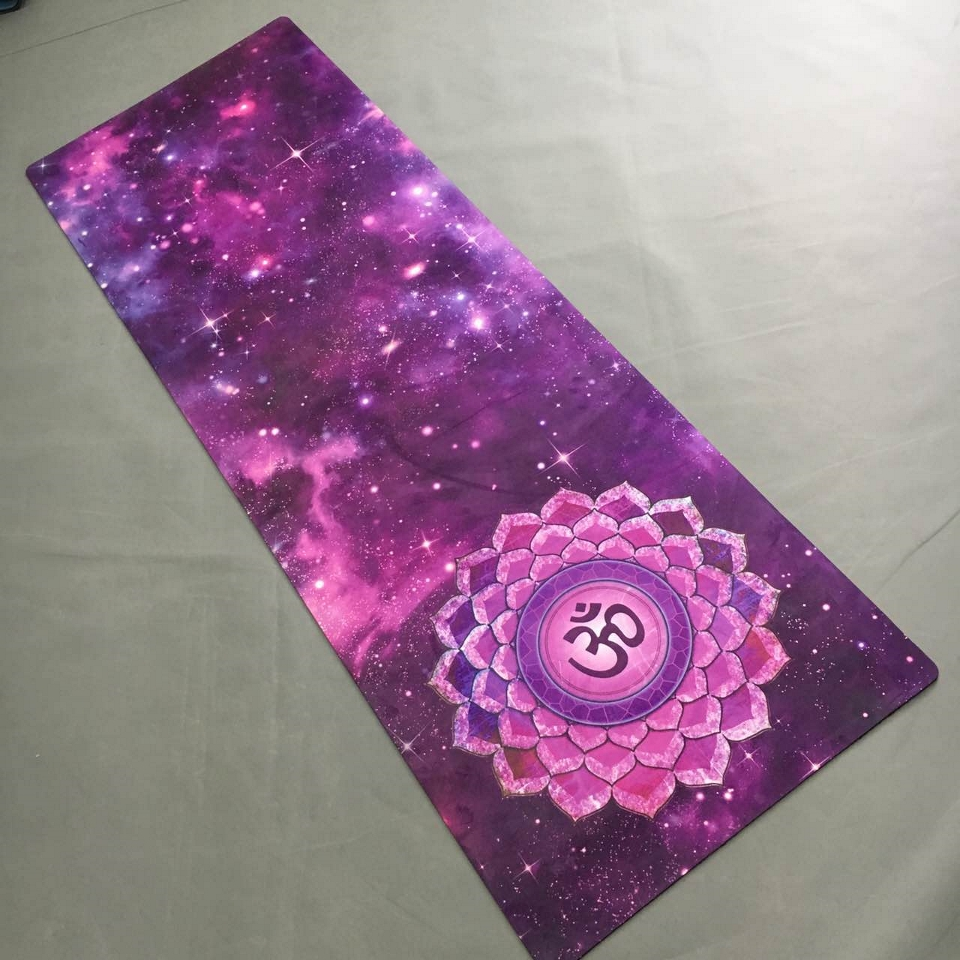 Purple star sky suede skin Natural Rubber eco friendly slip resistant Hot Yoga best yoga mat