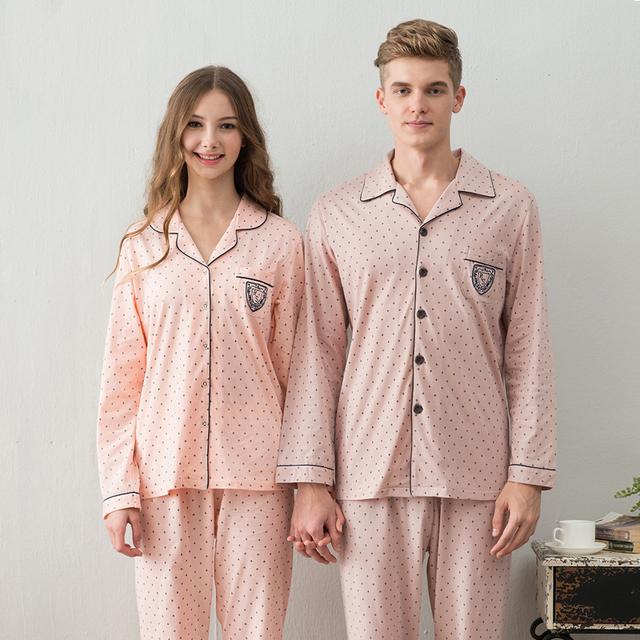 Amantes primavera e outono sleepwear feminina 100% algodão de manga comprida conjunto breve cardigan homens de salão algodão