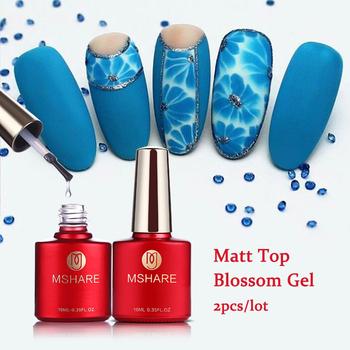MSHARE 2 sztuk partia matowy lakier nawierzchniowy + kwitnący żel lakier do paznokci matowy lakier nawierzchniowy kwiat P tanie i dobre opinie Żel do paznokci Żel UV Resin 10ml Led or UV Lamp