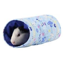 Cute Cartoon wzór zabawka dla chomika tunel małe zwierzę domowe kreskówki rury legowisko do spania dla królików fretki świnki morskie małe zwierzęta tanie tanio 5980772 Dacron