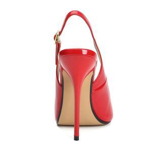 Image 2 - Büyük boy yaz topuklu sandalet kadın yüksek topuklu ayakkabı sandalet kadın Peep Toe geri askı seksi siyah kırmızı düğün parti ayakkabıları bayan