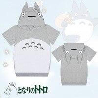 Women Hoodies Anime My Neighbor Tonari no Totoro Hooded Sweatshirt Short Sleeve Jersey Girl Drawstring Neck Hoodie Pullover Coat