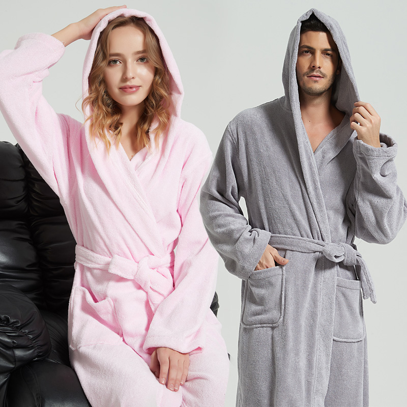 Winter Men Long Bathrobe Hooded 100% Cotton Men Nightgown Warm Gowns Hooded Bath Robe Male Sleepwear Flannel Thickening Pajamas