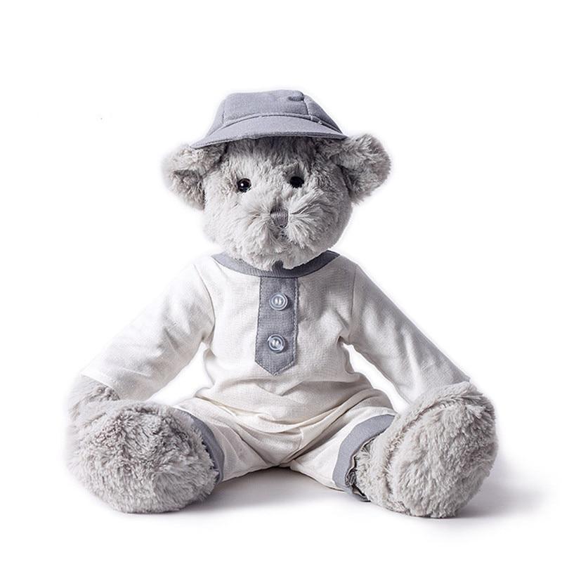 Jucării de pluș urs gri purta lenjerie albă fusta cu lumina - Păpuși și jucării umplute
