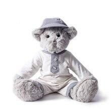 हल्के नीले बाल टोपी सुंदर भालू नए डिजाइन 40 सेमी लंबा के साथ आलीशान खिलौना ग्रे भालू सफेद लिनन स्कर्ट पहनते हैं