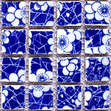Синий и белый цветочный фарфор керамическая мозаика DIY Сад Санузел для ванной комнаты стены напольная плитка 25 мм