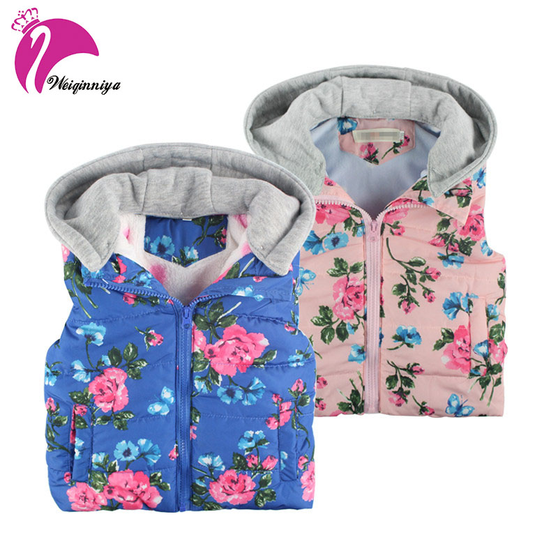 Baby Girls Clothing New Brand 2017 Winter Autumn Fashion Floral Thick Cotton Warm Outwear Kids Clothes