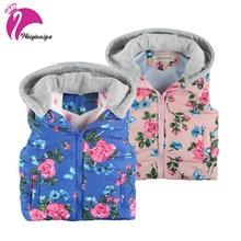 Bébé Filles Vêtements Nouvelle Marque 2017 Hiver/Automne De Mode Floral Épais Coton Chaud Outwear Enfants Vêtements À Capuche Filles Gilet veste