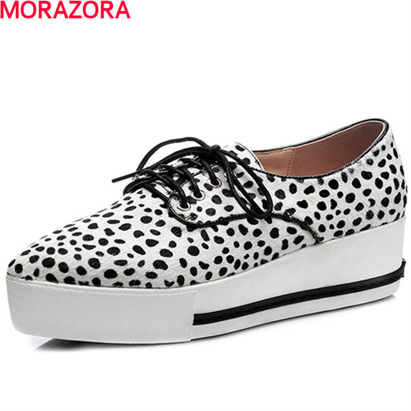 MORAZORA fashion new arrival horse hair med heels shoes lace up solid spring shoes leisure women shoes pumps size 34-40 morazora plus size 34 42 wedges shoes med heels 4 5cm round toe single shoes fashion lace up women pumps platform