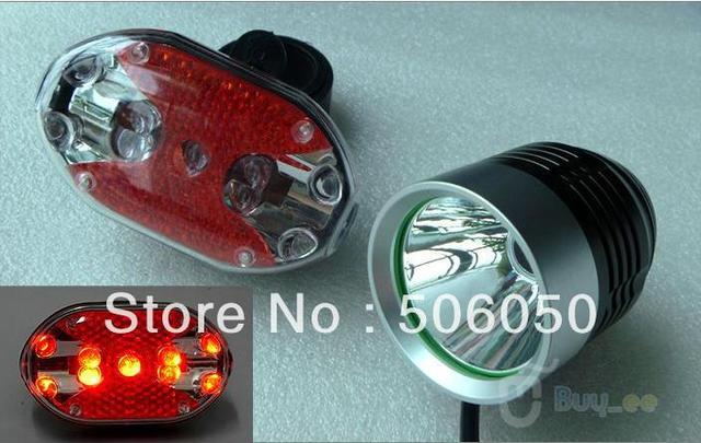 T6 Bike Light XMLT6 LED 1800 Lumens 3 Mode Waterproof Bicycle Light LED HeadLamp +  Battery Pack + Charger+bike rear Light