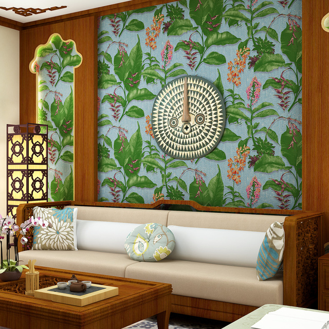 Southeast Asia Style Banana Leaf Design Wallpaper Vintage TV Background Decor Murals Retro 3D Stereoscopic Wallpapers