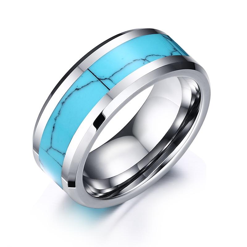 Herre ringer tungsten karbid med blå sprekk mønster naturstein - Mote smykker